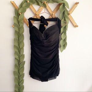 Jantzen Black Mesh Swim Dress
